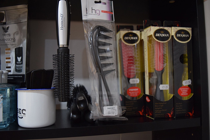 Brushes and combs at Barbers, North Bristol