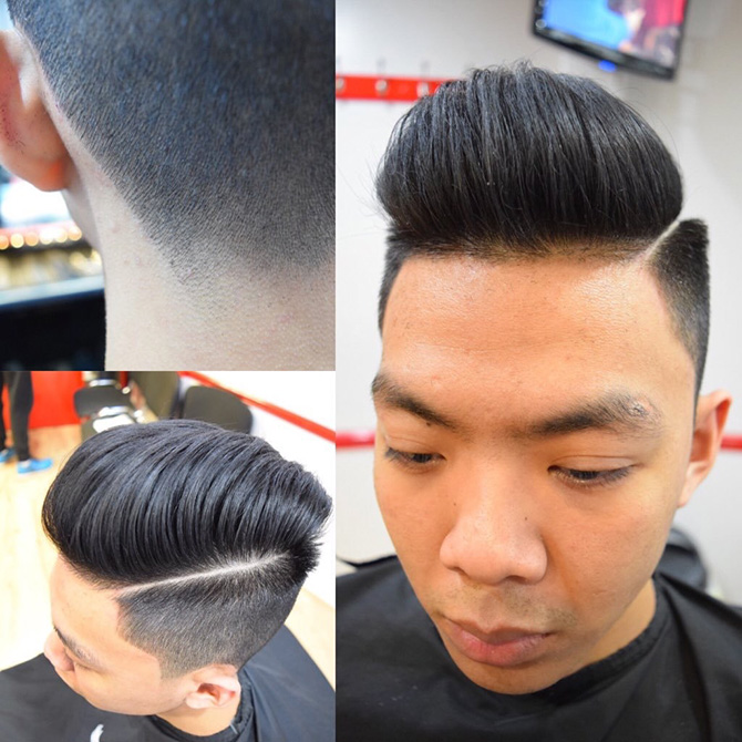 Back and sides with hard parting hairstyles North Bristol barbers