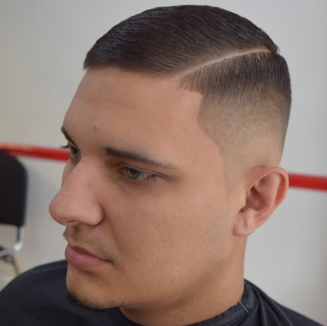 Skin fade with traditional side parting hairstyles North Bristol barbers